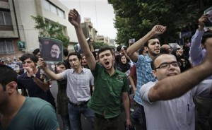 Protesters take the Iranian streets in support of Mousavi.